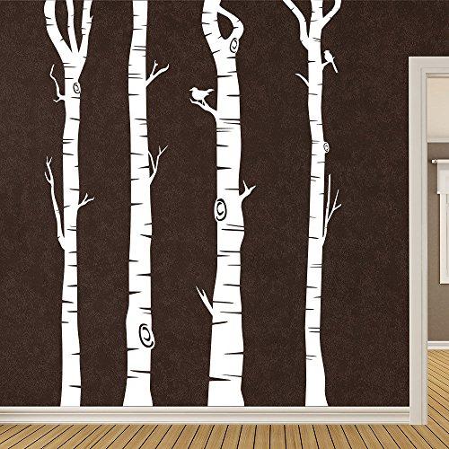 KLEBEHELD® Wandtattoo Birkenstämme - Birken - Stämme - Birkenstamm Farbe schwarz, Größe 120cm