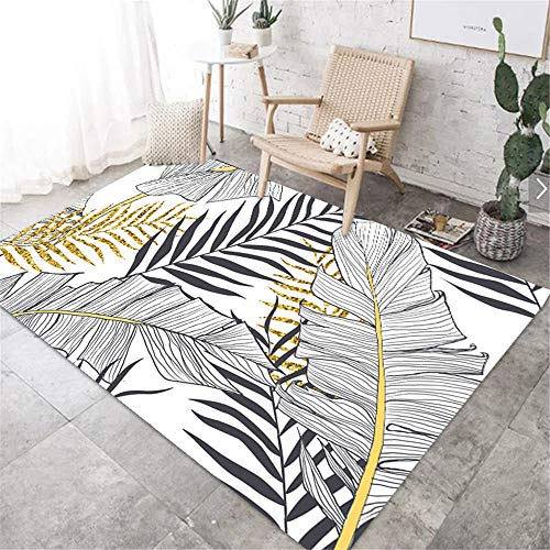RUGMRZ Play Rug Carpet gray cartoon large leaf pattern anti-dirty carpet durable Carpets Rugs And Carpets For Living Room grey 80X160CM