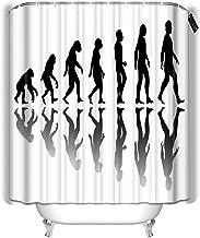 YILINGER Decor Bath Curtains Man Evolution Silhouette Progress Growth Development Neanderthal and Monkey Homo Sapiens Or Hominid Bathroom Decoration Shower Curtain 72