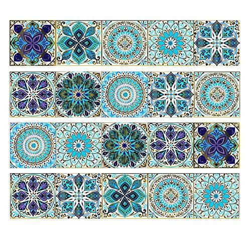 20pcs Vinilo Azulejo Adhesivo Mural Vinilo Decorativo Mosaico Baldosa Pegatina Pared Revestimiento Decorativo Cenefa Autoadhesivo Etiquetas para Azulejos para Baño y Cocina Impermeable(10x10cm)