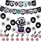 Decoración De Globos De Cumpleaños De Tik Tok, BAIBEI 36PCS Decoración De Fiestas De Cumpleaños Globo De Látex Cake Topper Pancarta De Feliz Cumpleaños Suministros