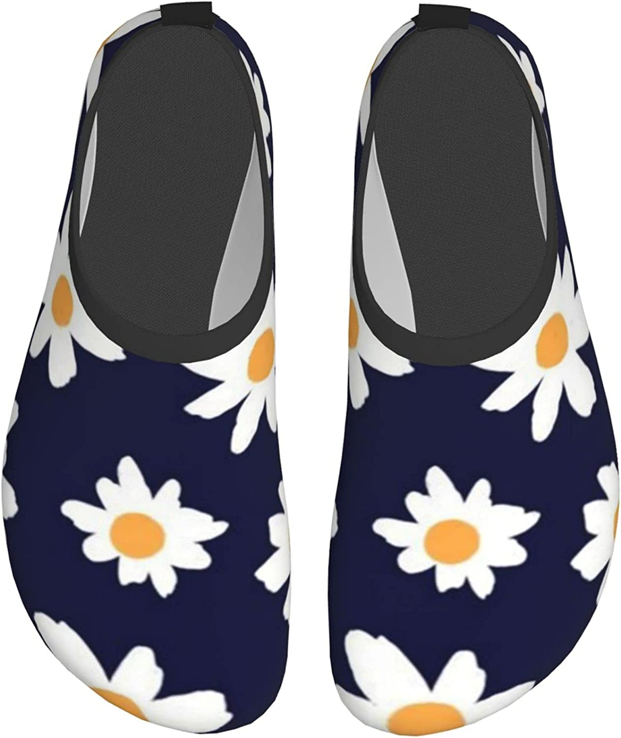 Blue and White Retro Daisy Floral Mens and Womens Water Shoes Barefoot Quick-Dry Aqua Yoga Socks Slip-On for Beach Sports Swim Snorkeling