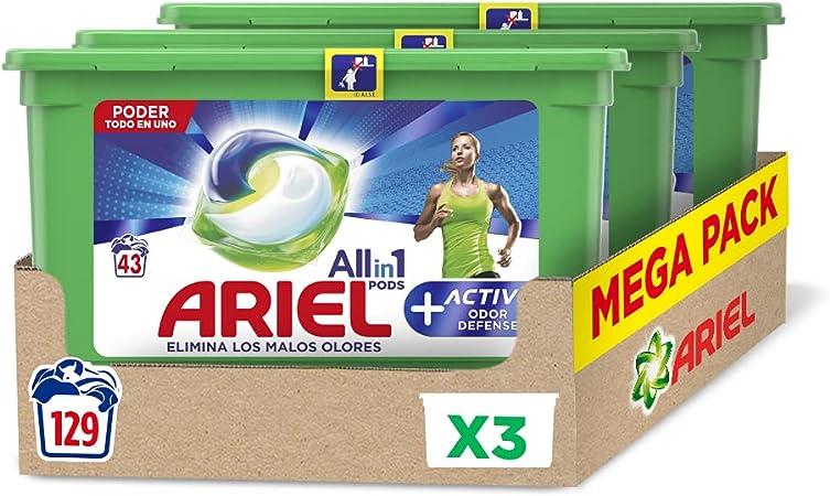 Ariel Pods Detergente Lavadora Cápsulas, 129 Lavados (Pack 3 x 43), Active Odor Defense