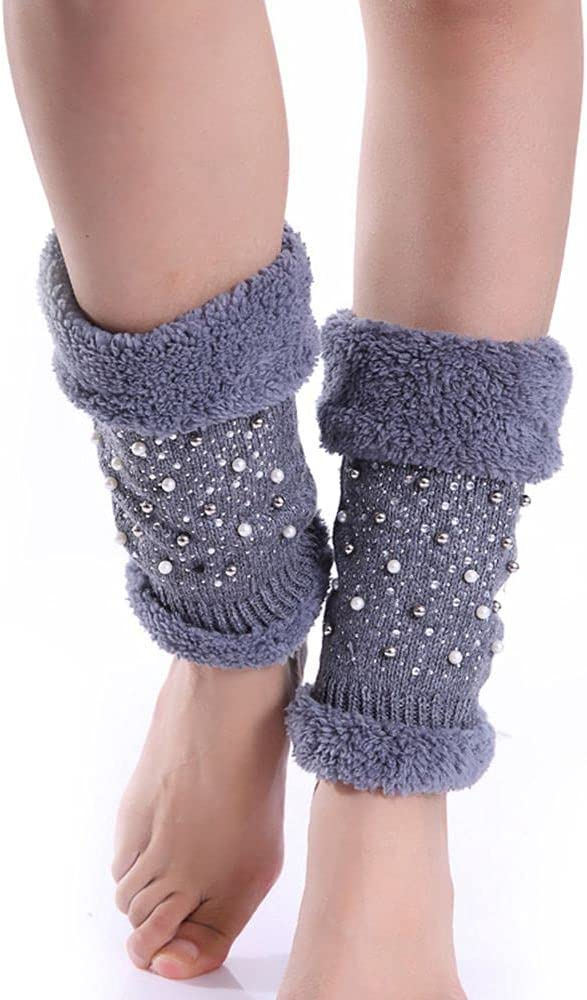 NC 1 Pair Women's Fashion Leg Warmers Knit Fleece Lined Leg Warmers Boot Toppers Winter Thick Knit Extra Leg Warmers Thickened Knee Pad Sleeve Leg Warmer
