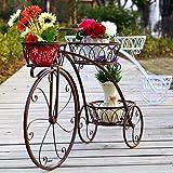 Soporte de la flor Soporte de la planta Maceta de macetero Estante de exhibición Bodegas Soporte de madera de la planta Bicicleta El balcón Sala de estar Múltiples funciones-F 44x60cm(17x24inch)