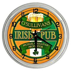 Redeye Laserworks Irish Pub Personalized Orange Neon Clock from