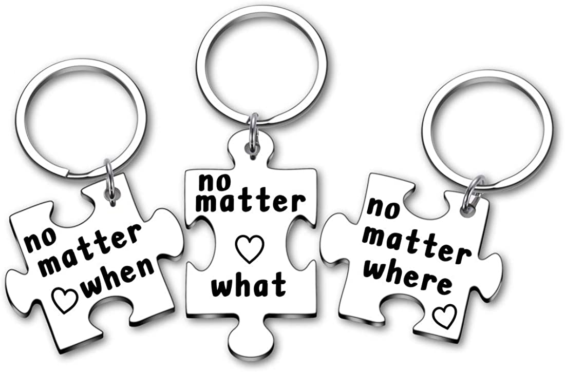3 PCS Best Friend Keychain Birthday Graduation Long Distance Relationship Gifts for BFF Couple Sister Teens Him No Matter Where What When Puzzle Keyring Friendship for Sibling Christmas Thanksgiving