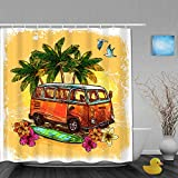 VICAFUCI Imperméable Rideau de Douche,Surf ou Style Hippie Vieux Bus Vintage avec Fleurs de Planche de Surf et Croquis de Palmier,ImperméableSalle de Bain avec Crochets,180 x 180 cm