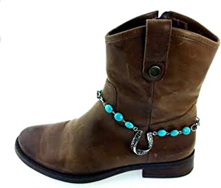 Western Style Boot Chain Jewelry Anklet Horseshoe Charm with Blue Stabilized Turquoise