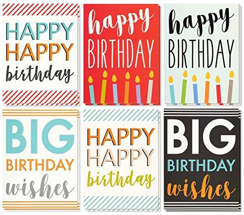 Best Paper Greetings 12 Pack Jumbo Verjaardagskaarten Wenskaarten, 6 Verschillende Unieke Multi kleuren Ontwerpen, Bulk Box Set Variety Assorment, Enveloppen Inbegrepen, 8.5 X 11 Inches
