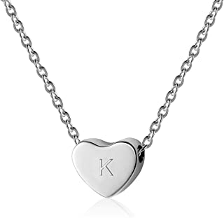 SANXIULY Initial Letter Heart Necklace:14K Gold and White Gold Plated for Women and Girls from A-Z