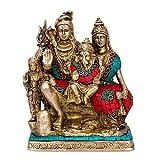 CraftVatika Hindu God Shiva Family Statue Shiva Parvati Ganesh Sculpture Brass Lord God Deity Figurine