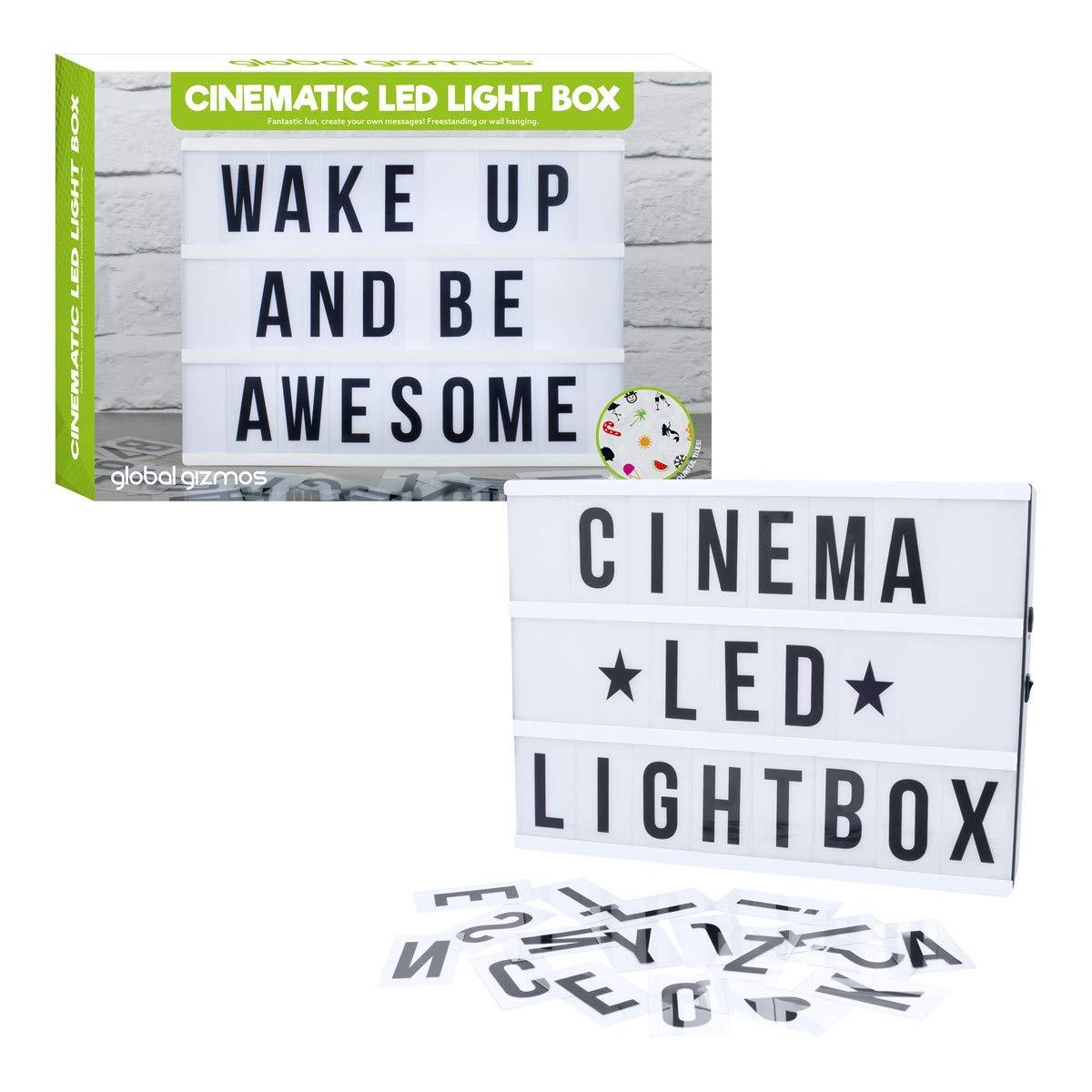 El Home Fusion Company Blanco de Pilas LED Retro Cinemático Cine Luz Caja con Letras Símbolos & Números: Amazon.es: Hogar