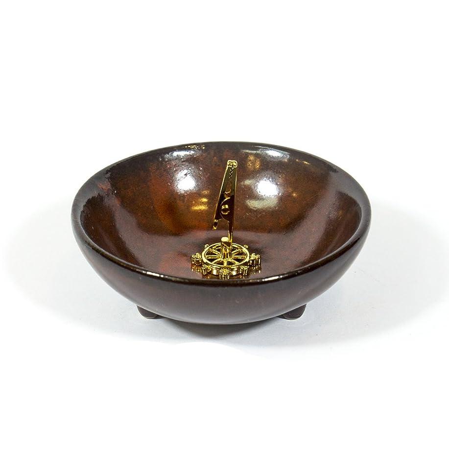 救いでも鍔(DarkRed) - Incense Holder for Coils Sticks Cones Ceramic Holder Dark Red Type
