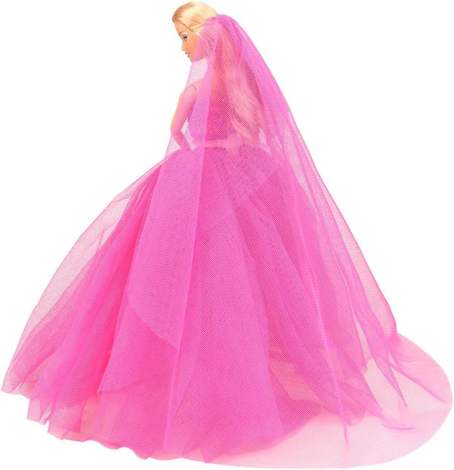 Gelbrot Miunana Abendkleid Ballkleid Kleider Prinzessin Kleidung Dress Party Gown mit Brautschleier f/ür 11,5 Zoll M/ädchen Puppen Weihnachten Party Geschenke Xmas