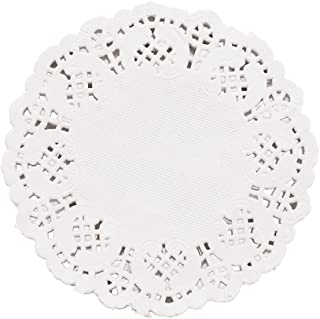 DECORA 3.5inch Round White Lace Paper Doilies for Wedding Tableware Decoration, 100-Pack