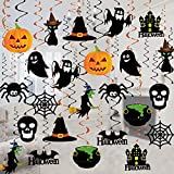 Tifeson Halloween Hanging Decoration - 36 PCS Halloween Swirl Ceiling Hanging Decoration - Large Size Witches Ghost Pumpkin Ceiling Decorations for Halloween Party