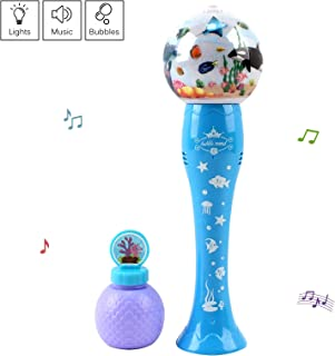 Vokodo Bubble Blower Ocean Theme Wand Blows Hundreds Per Minute with Light Music Includes Soap Solution Battery Operated Blaster Gun Kids Party Shooter Toy Great Gift for Children Boys Girls Toddler