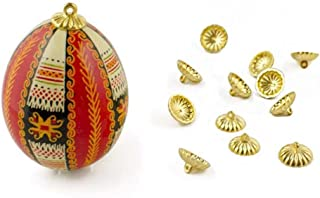 12 Gold Tone Ornament Caps - Egg Top Findings