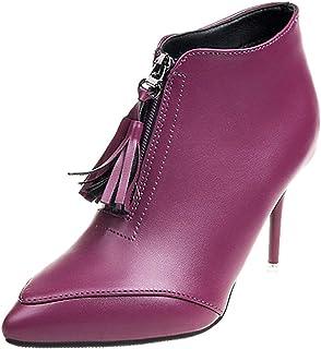 Women's Pointed-Toe Stiletto Zip Tassel Ankle Boots (Color : Purple, Size : 2 UK)