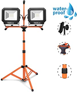 TACKLIFE LED Work Light, 10000 Lumen Work Light, Two-Head 100W, 16.5 Ft AC Power Cord, Work Lights with Metal Lamp Housing and Telescoping Tripod, Ideal for Outdoor and Indoor Use HXLWL5B