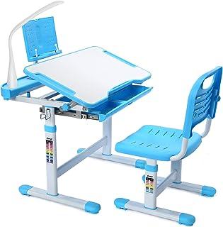 Bureau pour Enfants, Forfar avec éclairage LED Ensemble Bureau et Chaise pour Enfants Bureau pour Enfants à Hauteur réglab...