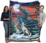 Moonsong Wolf and Dragon - Ed Beard Jr - Cotton Woven Blanket Throw - Made in The USA (72x54)
