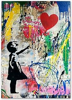 Imprimir lienzo pintura corazón globo niña abstracta nórdica carteles y arte de la pared cuadros de la pared para la decoración del marco de la sala de estar 60x80 cm / 23.6