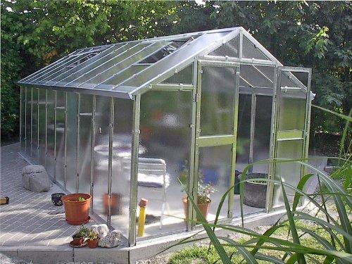 Gewächshaus mit Glas unschlagbar stabil 2,5 x 6,05 m, Konstruktion Metall verzinkt