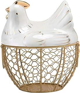 Panier à œufs en céramique en forme de poulet - Panier à œufs décoratif pour la cuisine - Panier de rangement pour la déco...