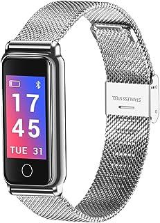 ele ELEOPTION Pulsera de fitness, podómetro, monitor de actividad impermeable, pulsómetro, monitor de presión arterial, reloj de pulsera de acero inoxidable, para Android e iOS