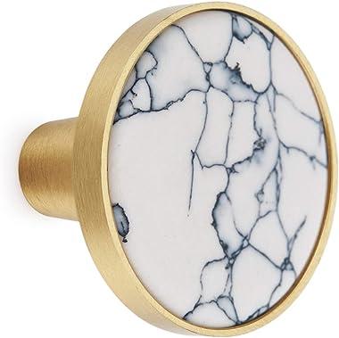 10PCS Brass Cabinet Knobs Decorative Cupboard Drawer Dresser Pulls White Turquoise 1.25 inch Diameter