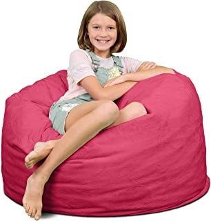 ULTIMATE SACK Bean Bag Chairs in Multiple Sizes and Colors: Giant Foam-Filled Furniture - Machine Washable Covers, Double Stitched Seams, Durable Inner Liner. (3000, Pink Fur)