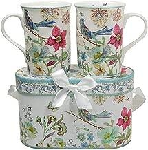 Lightahead Elegant Bone China Two Mugs set in Blue bird design 11.2 oz each cup in attractive gift box