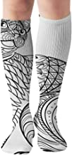 Hand Drawn Ink Coloring Book Adult Nature Compression Socks Women & Men, Best Athletic & Medical Running Flight Travel Pregnant 19.68 Inch