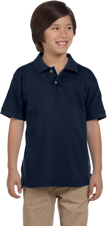 Harriton 6 oz. Ringspun Cotton Pique Short-Sleeve Polo (M200Y) Navy, M