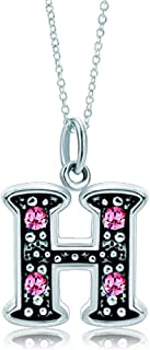 Pink Letter A-Z Alphabet Initial Charms Bead Necklace Pendant
