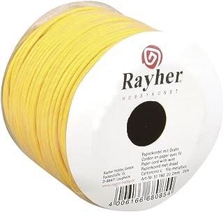 Rayher 5116020 Papierkordel mit Draht, 2 mm, Rolle 25 m, gelb