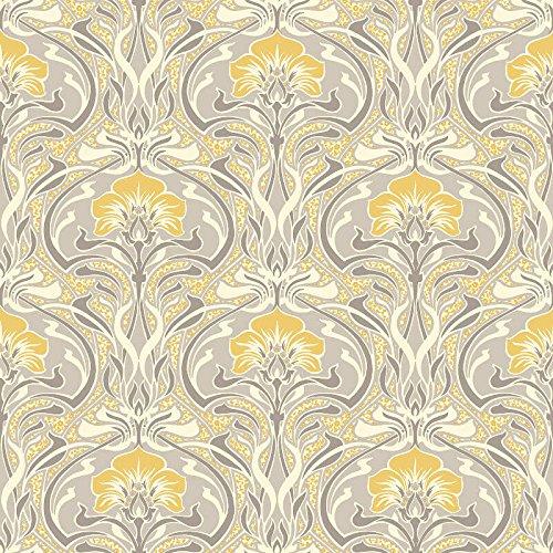 Crown Wallcoverings Flora Nouveau behang geel M1195 volledige rol