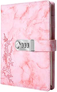 A5 Creative Password Lock Journal PU Leather Combination Lock Diary Digital Password Notebook Locking Journal Diary (Pink)