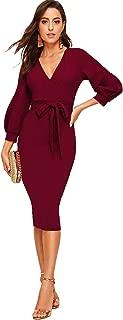 Women's Surplice Wrap Bishop Sleeve Belted Bodycon Pencil Dress