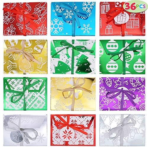 36 cajas de tarjetas de sobres envueltas decorativas de papel de regalo navideño con soporte de cinta decoración para vacaciones de Navidad