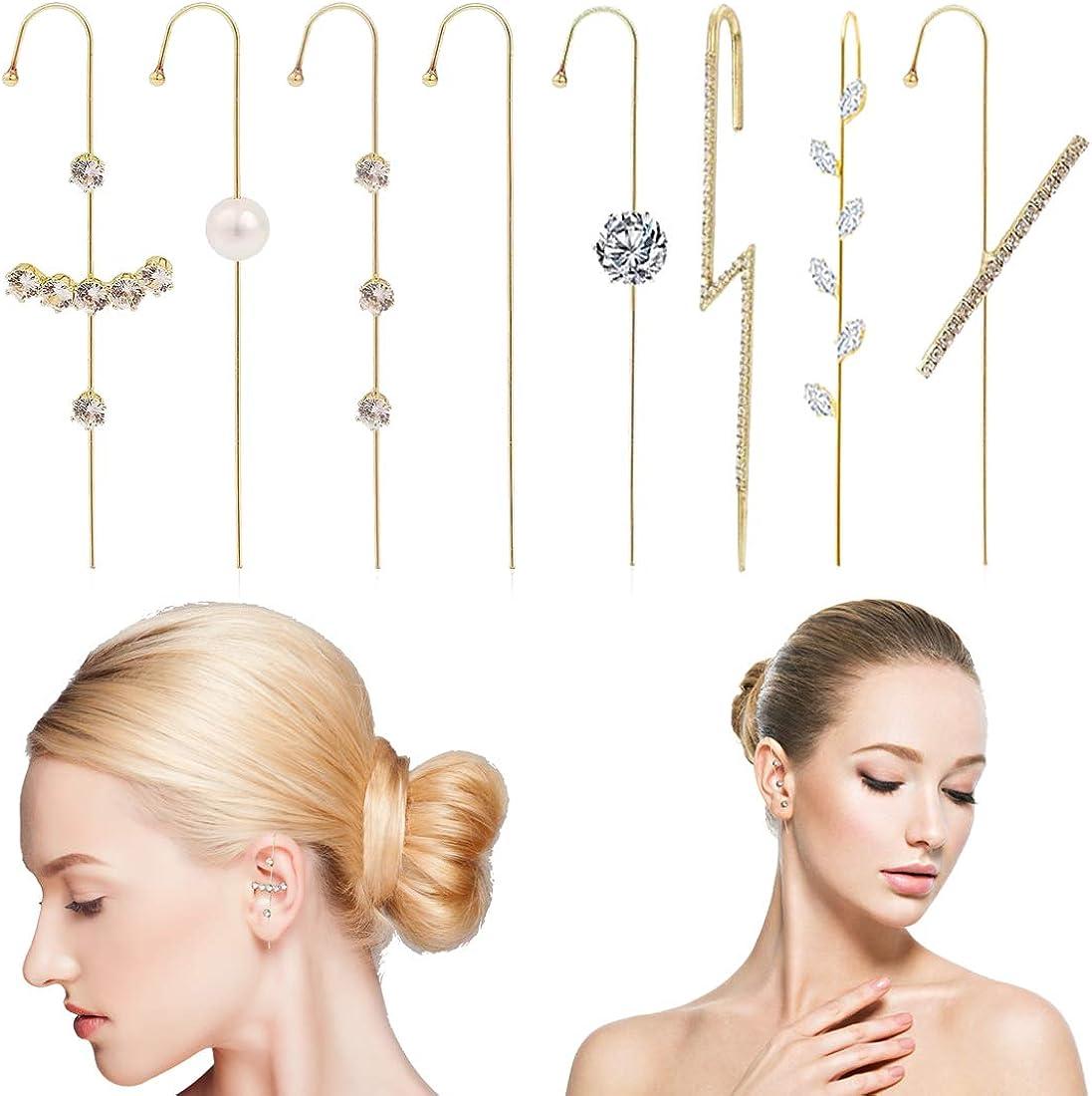 GAUSKY Ear Wrap Earrings 8 Pcs Cuff Earrings for Women Crawler Artificial Rhinestone Earring Hook Piercing Ear Climb Stud, Gold