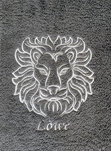 KringsFashion Duschtuch mit Sternzeichen 8 Löwe (Geburtstag 23.07. - 23.08.), hochwertig Bestickt, 70x140cm, Farbe: Anthrazit, Stickfarbe Tierkreiszeichen: Silbergrau