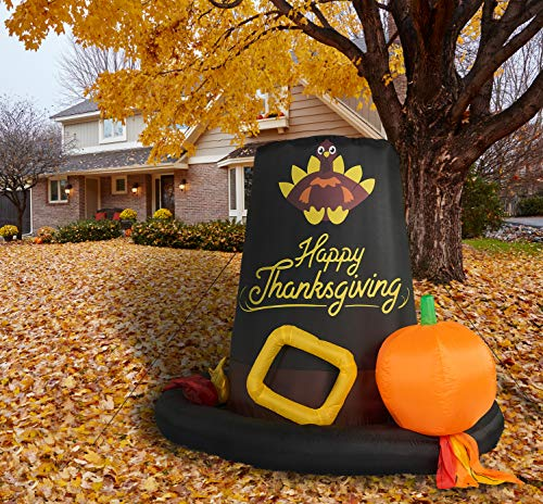 Fraser Hill Farm FHHVTGHAT061-L 6-Ft. Happy Thanksgiving Day Pilgrim's Hat, Black