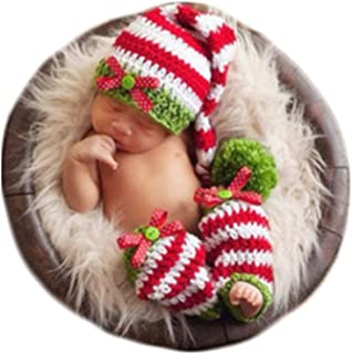 Christmas Newborn Baby Photo Shoot Props Outfits Crochet Knit Clothes Infant Boy Girl Christmas Costume Hat Leggings