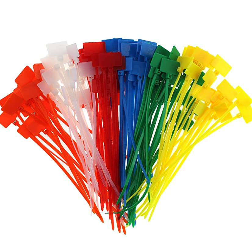 CREATRILL 120 Pcs 6 Colors Nylon Cable Marker Ties Self-Locking Cord 5 inches Write on Ethernet Wire Zip Mark Tags Nylon Power Marking Label