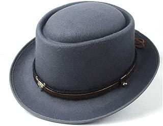 2019 Mens Womens Hats Unisex Men Women Flat Top Hat Autumn Pop Winter Pork Pie Hat Trilby Hat Dance Party Hat Porkpie Church Fascinator Jazz Hat Size 56-58CM Soft (Color : Gray, Size : 58)