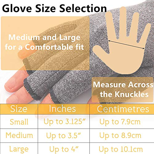 2 Pairs Compression Gloves, Arthritis Gloves for Women & Men, Carpal Tunnel Gloves, Relieve Arthritis Pain, Fingerless Design, Breathable Moisture Wicking Fabric Comfortable Fit (M, Black)