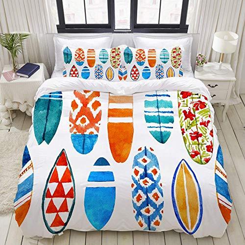 Jojun Funda nórdica, patrón de Surf de Tabla de Surf de Acuarela Dibujada a Mano, Juegos de Cama Decorativos de 3 Piezas con 1 Funda de edredón y 2 Fundas de Almohada para Adolescentes Adultos